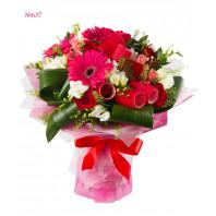Букет из роз, фрезий, гербер и гвоздик «Цветочная эйфория»