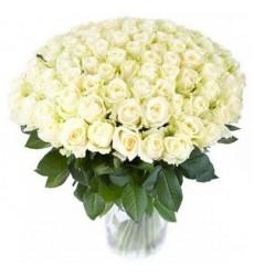 Букет из 101 белой розы  «Белое вдохновение»