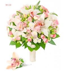 Букет невесты из 3 альстромерий, 5 орхидей и 5 кустовых роз «Кассандра»