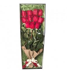 Букет в коробке из 11 красных роз «Язык страсти»