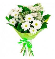 Букет из 3 кустовых хризантем «Белоснежное трио»