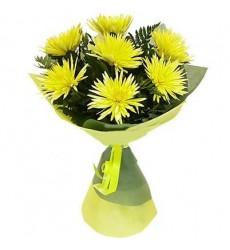 Букет из 7 жёлтых хризантем «Жёлтый салют»