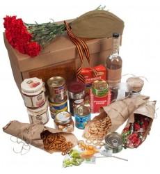Подарочная коробка с конфетами, гвоздиками, продуктами и водкой BELUGA NOBLE «Настоящий полковник»