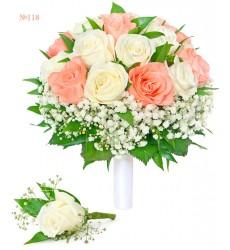 Букет невесты из 19 роз, гипсофилы и зелени «Кружевная подвязка»