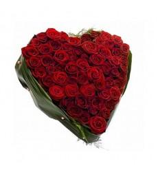 Цветочная композиция из 51 красной розы «Франсуаза»
