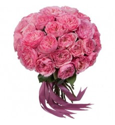 Букет из 29 розовых роз Дэвид Остин «Роза Версаля»