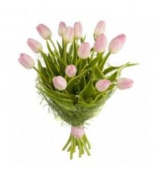Букет из 15 нежно-розовых тюльпанов «Нежный этюд»