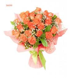 Букет из 25 роз «Коралловый рассвет»