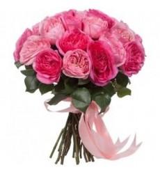 Букет из 18 пионовидных роз «Розовый бант»