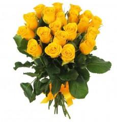 Букет из 21 жёлтой розы «Лазурное чудо»
