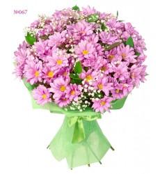 Букет из 11 кустовых хризантем и зелени «Летняя Вердена»