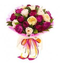 Букет из 25 пионовидных роз «За облаками»