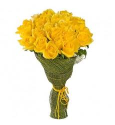 Букет из 25 жёлтых роз  «Медовая нежность»