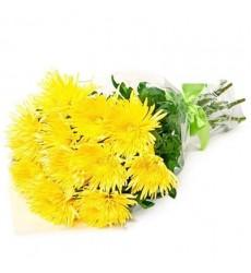 Букет из 11 жёлтых хризантем «Милада»