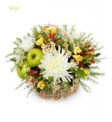 Корзина цветов с ромашками, фрезиями, хризантемами и яблоками «Дары осени»