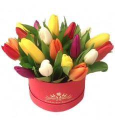 Букет из 21 разноцветного тюльпана «Восточный Эдем»