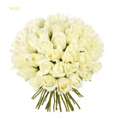 Букет из 51 белой эквадорской розы «Лунная богиня»