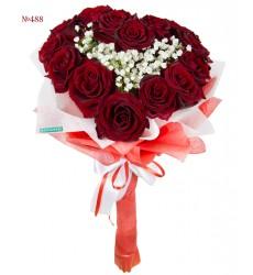 Букет невесты из 15 красных роз «Бриллиантовое колье»