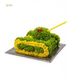 Цветочная композиция из 28 кустовых хризантем «Яркий танк»