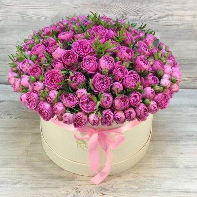 Букет из 101 розовой пионовидной кустовой розы в шляпной коробке «Твои объятия»
