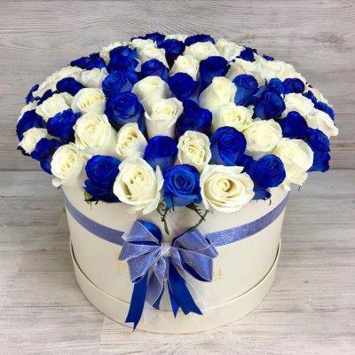 Букет из 101 розы в шляпной коробке «Струны души»