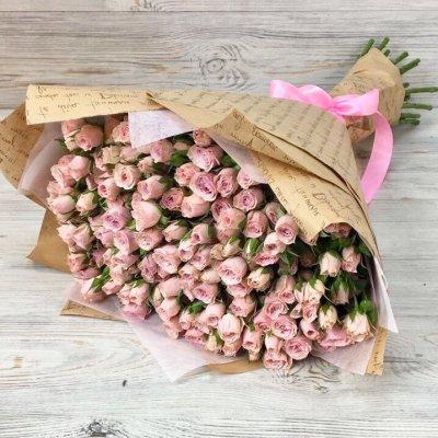 Букет из 29 розовых кустовых роз «Нежный ангел»