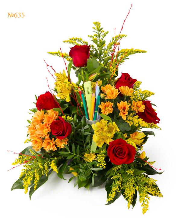 Букет из роз, альстромерий, хризантем и карандашей «Утро сентября»