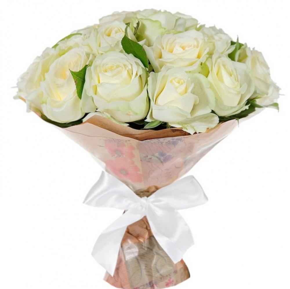 Букет из 15 белых роз «Сказочное мгновение»