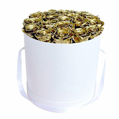 Букет из 15 золотых роз в шляпной коробке  «Золотые облака»