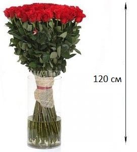 Букет  из 31 розы 120 см. «Влюбленные сердца»