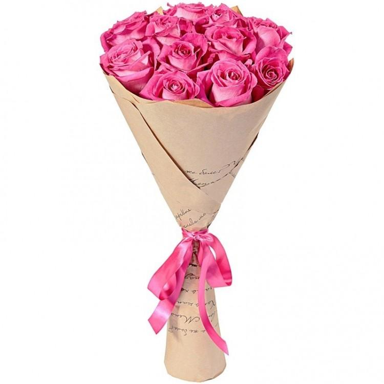 Букет  из 12 розовых роз  «Сладкая любовь»