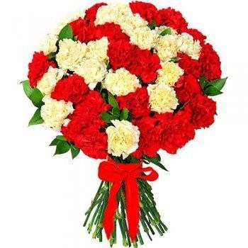 Букет из 41 красно-белой гвоздики «Вдохновение»