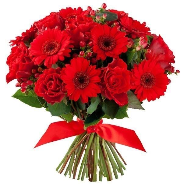 Букет из 11 гербер и 11 красных роз  «Оттенки соблазна»