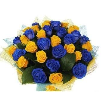 Букет из 11 синих и 19 жёлтых роз «Счастливчик»