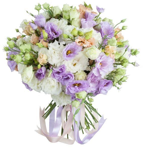 Букет из 15 кремовых, белых и фиолетовых эустом «Весенний роман»
