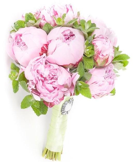 Букет невесты из 11 розовых пионов и мяты «Мятные мечты»