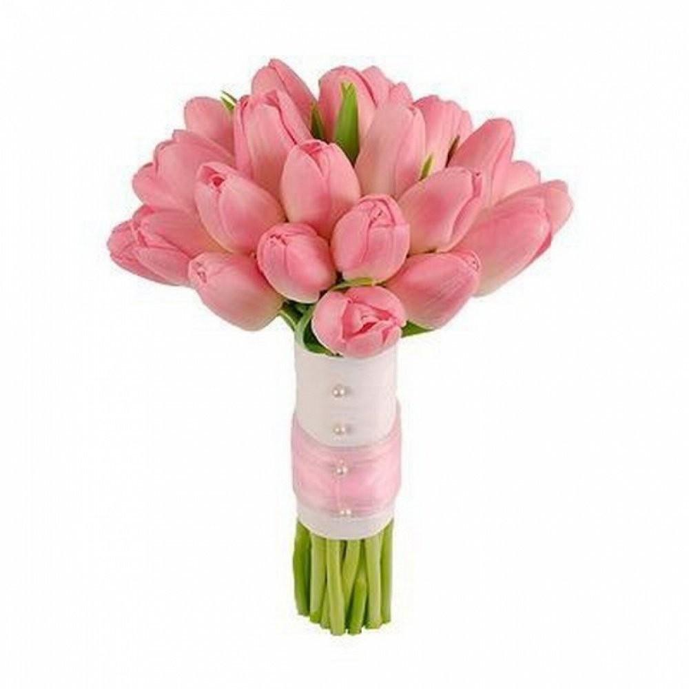 Букет невесты из 21 розового тюльпана «Бесконечное счастье»