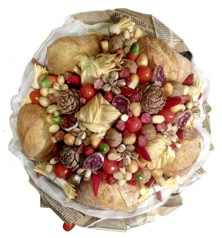 «Букет продуктовый из сыра и копченостей»
