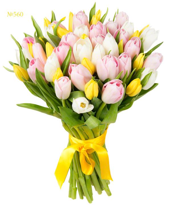 Букет разноцветных тюльпанов «Анжелика»