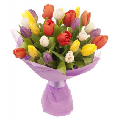 Букет из 21 разноцветного тюльпана «Первое признание»