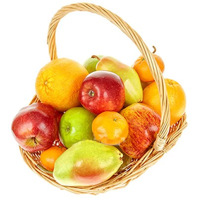 Фруктовая корзина с грушами, яблоками и цитрусовыми «Фруктовое раздолье»