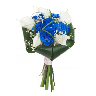 Букет из 5 белых калл и 6 синих роз «Индиго»