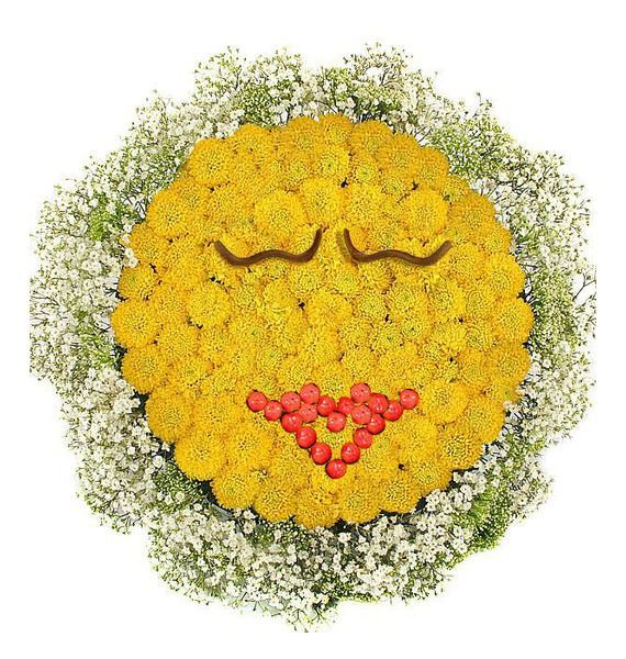Цветочная композиция из 20 кустовых хризантем «Целующий смайлик»