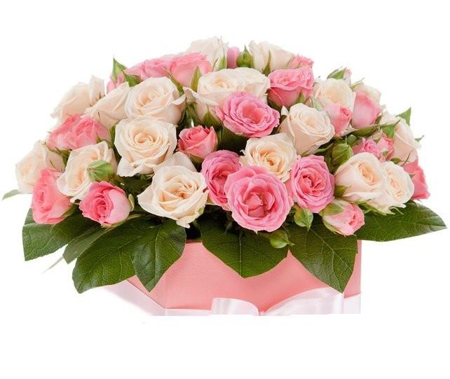 Цветы в коробке  с 11 кустовыми розами «Весенний джаз»