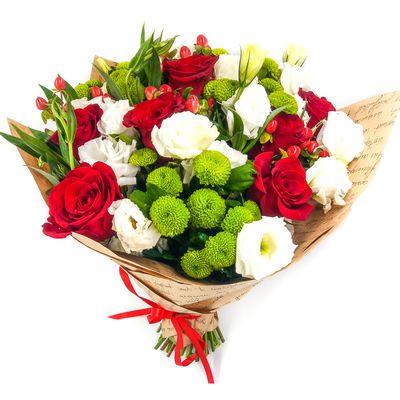 Букет из 7 роз, 3 альстромерий, 3 хризантем и 5 эустом «Рафаэль Санти»