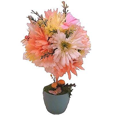 Композиция из искусственных цветов, фруктов и бабочек «Цветочная крона»