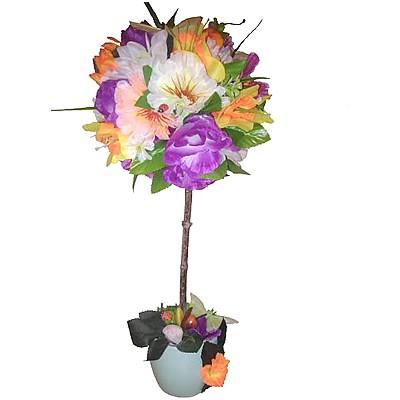 Композиция из искусственных цветов, фруктов и бабочек «Волшебный сад»