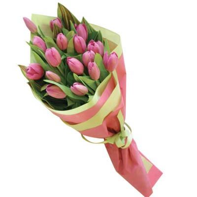 Букет из 17 розовых тюльпанов «Розмари»