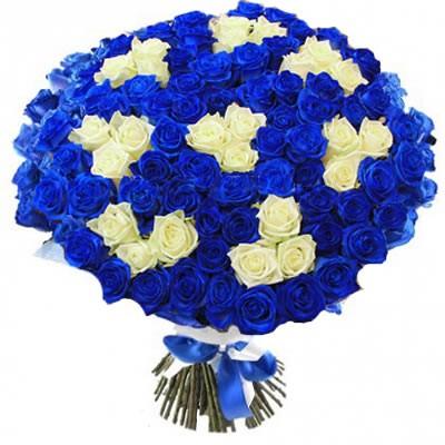Букет из 101 белой и синей роз «Ночное небо»