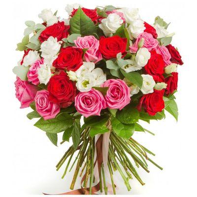 Букет из 21 розы и 7 эустом «Розовое попурри»